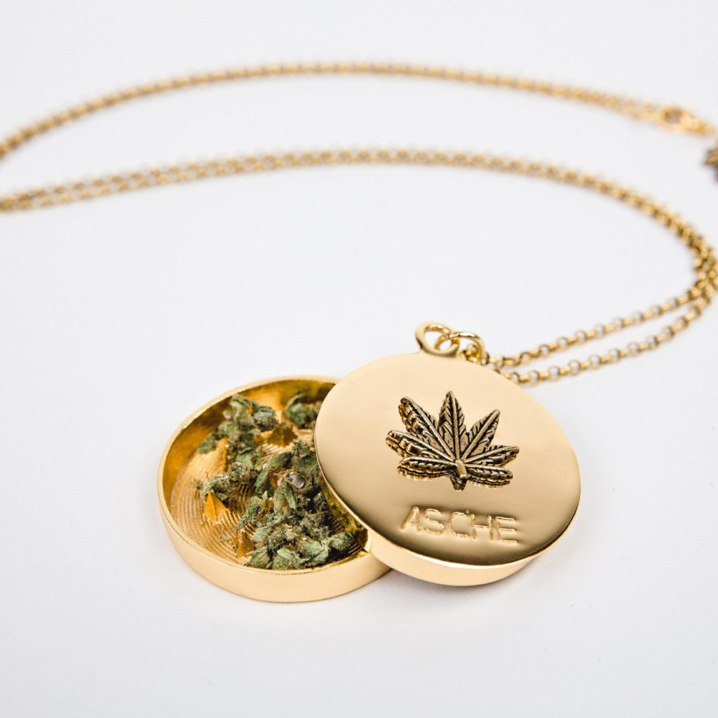 Gold Weed Leaf Grinder Necklace - Blunted Objects