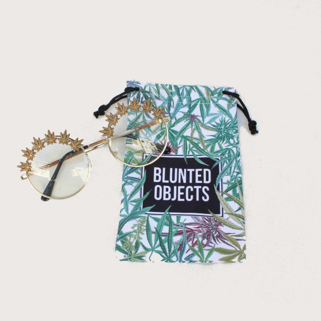 Gold Embellished Clear Weed Leaf Glasses - Blunted Objects