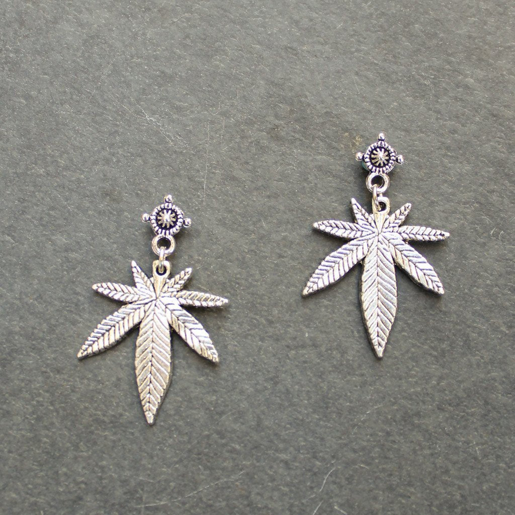 Mini Top Shelf Weed Leaf Earrings (Silver) - Blunted Objects