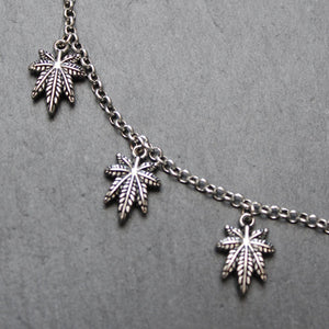 Flicker Weed Leaf Necklace (Silver) - Blunted Objects