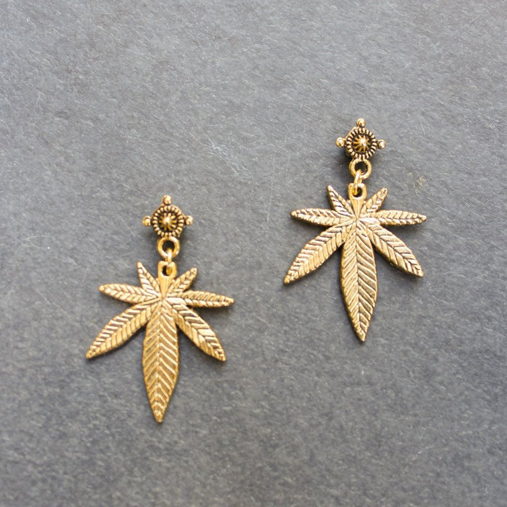 Top Shelf Mini Leaf Earrings (Gold) - Blunted Objects