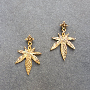 Mini Top Shelf Weed Leaf Earrings (Gold) - Blunted Objects