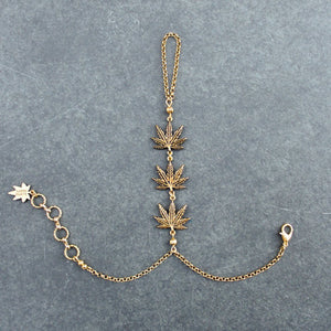 Trinity Leaf Handchain (Gold) - Blunted Objects