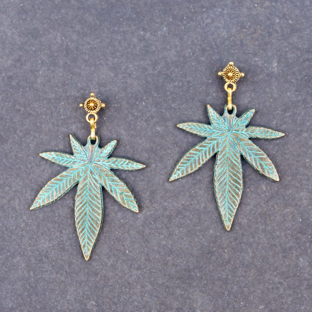 Green Dream Leaf Earrings