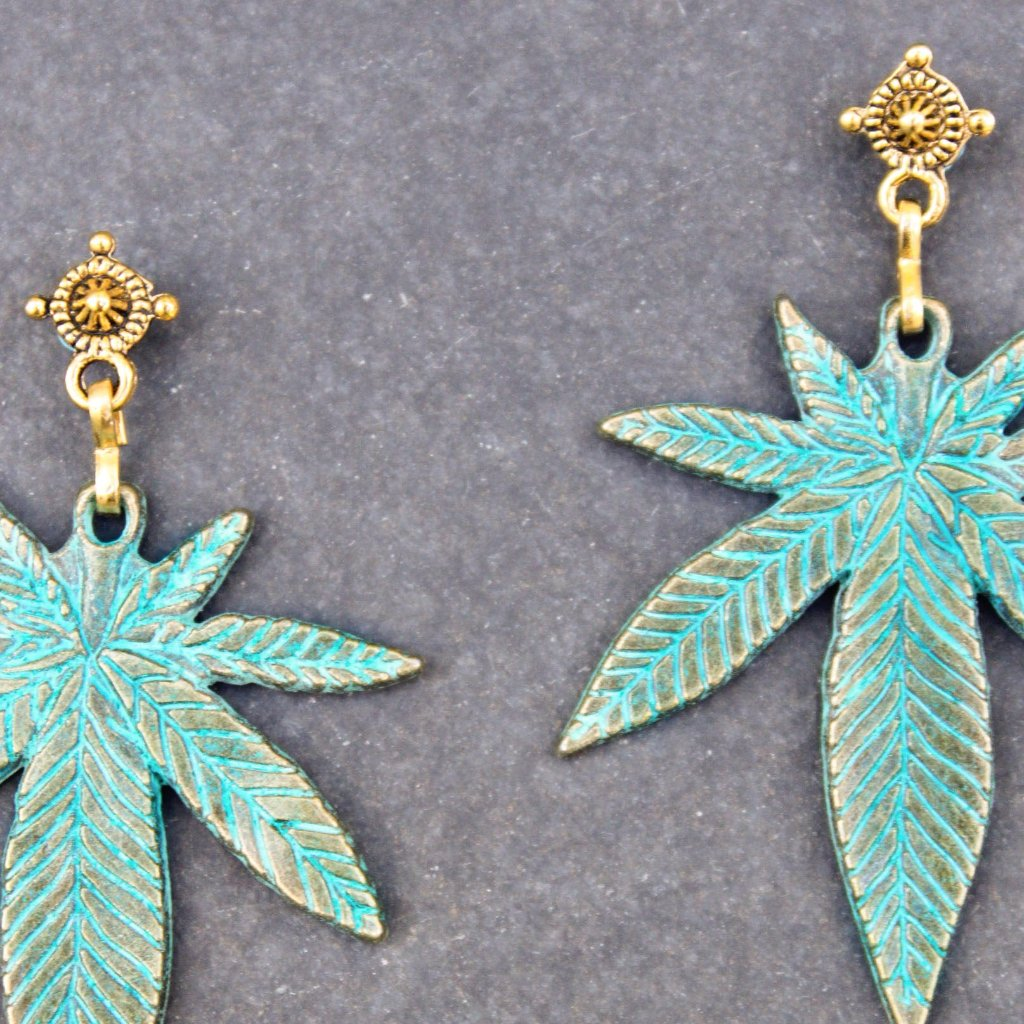 Green Dream Leaf Earrings - Blunted Objects