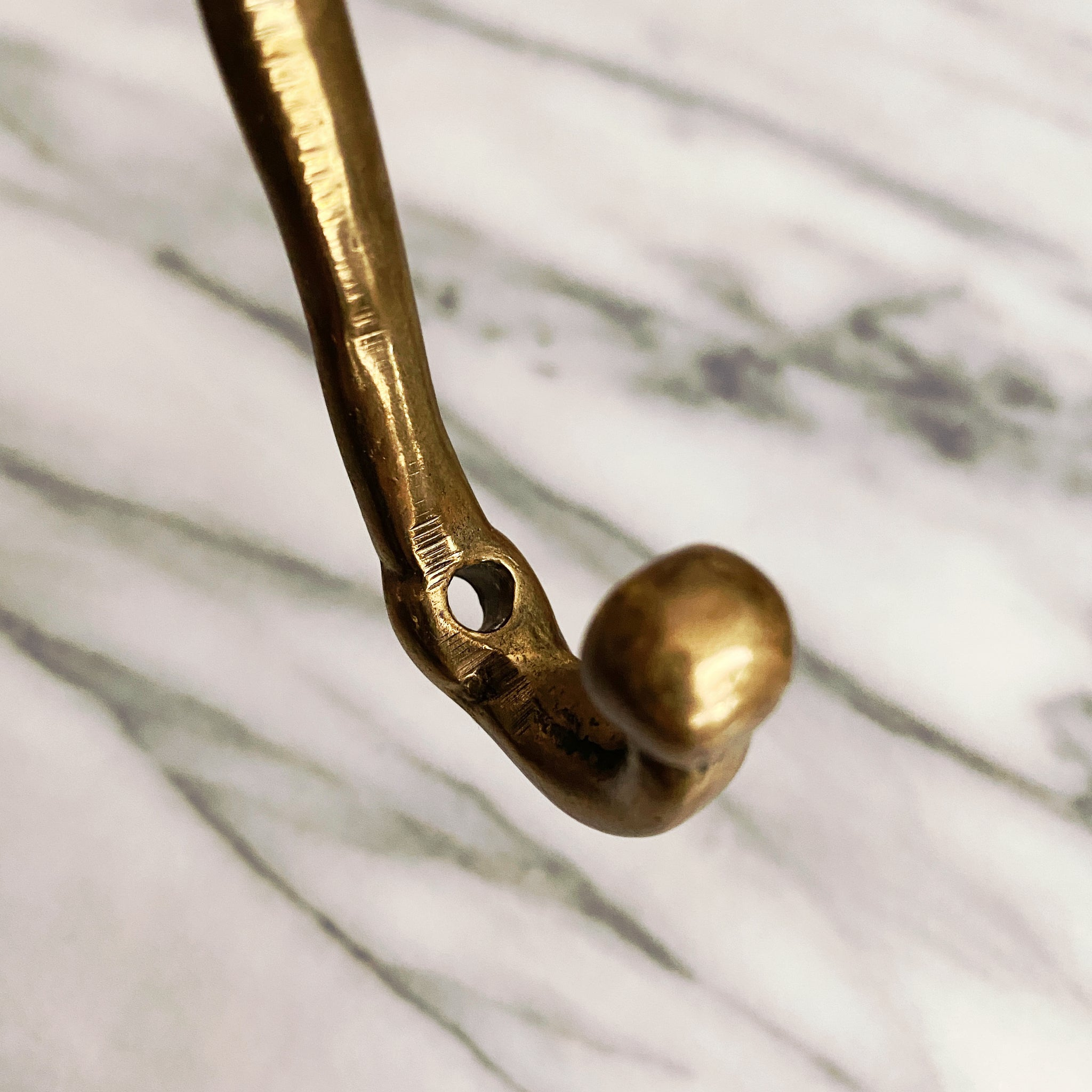 Brass Gold Floral Double Wall Hook