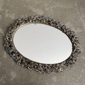 Flowers and Birds Silver Vanity Mirror Tray