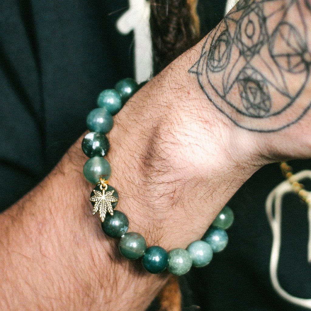 Heavy Hit Beaded Bracelet (Moss Agate) - Blunted Objects