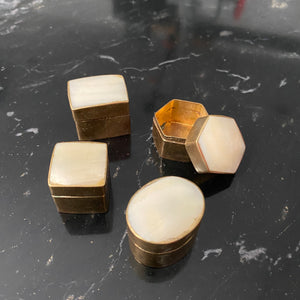 Mother of Pearl Brass Mini Stash Boxes (Set of 4)
