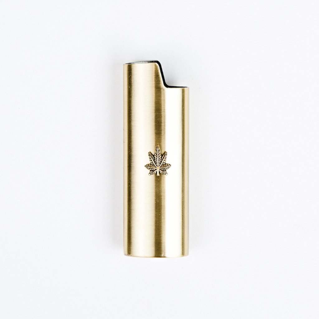 Brass Weed Leaf Embellished Lighter Case - Blunted Objects