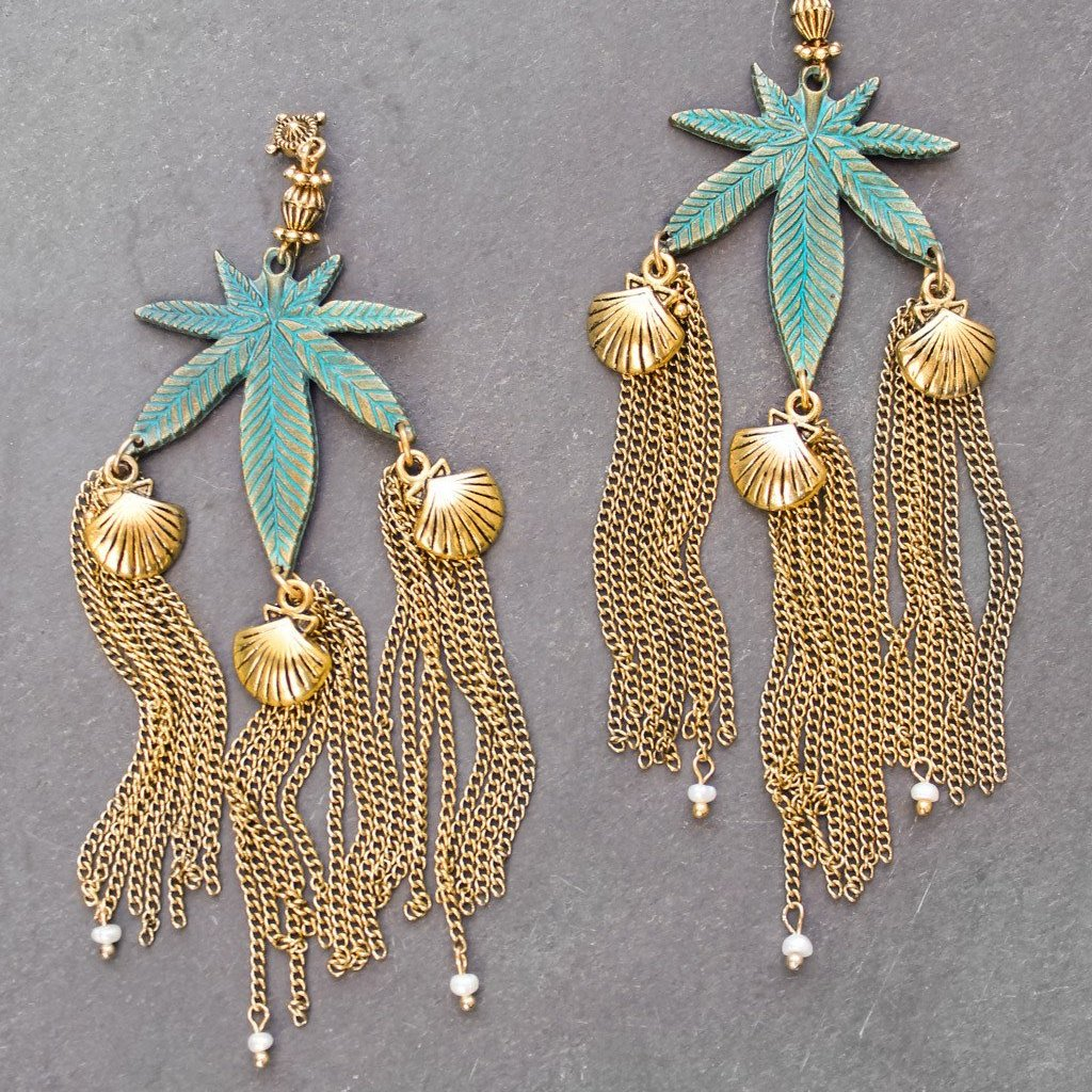 Mermaid Goddess Sea Weed Earrings - Blunted Objects