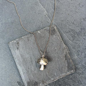 Mushroom Pendant Necklace (Silver) - Blunted Objects