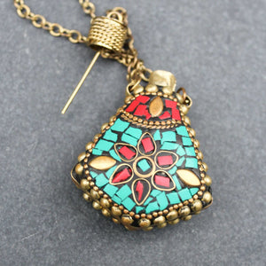 Gemstone Inlay Snuff Bottle Necklace - Blunted Objects