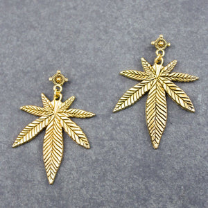 Top Shelf Leaf Earrings (Gold) - Blunted Objects