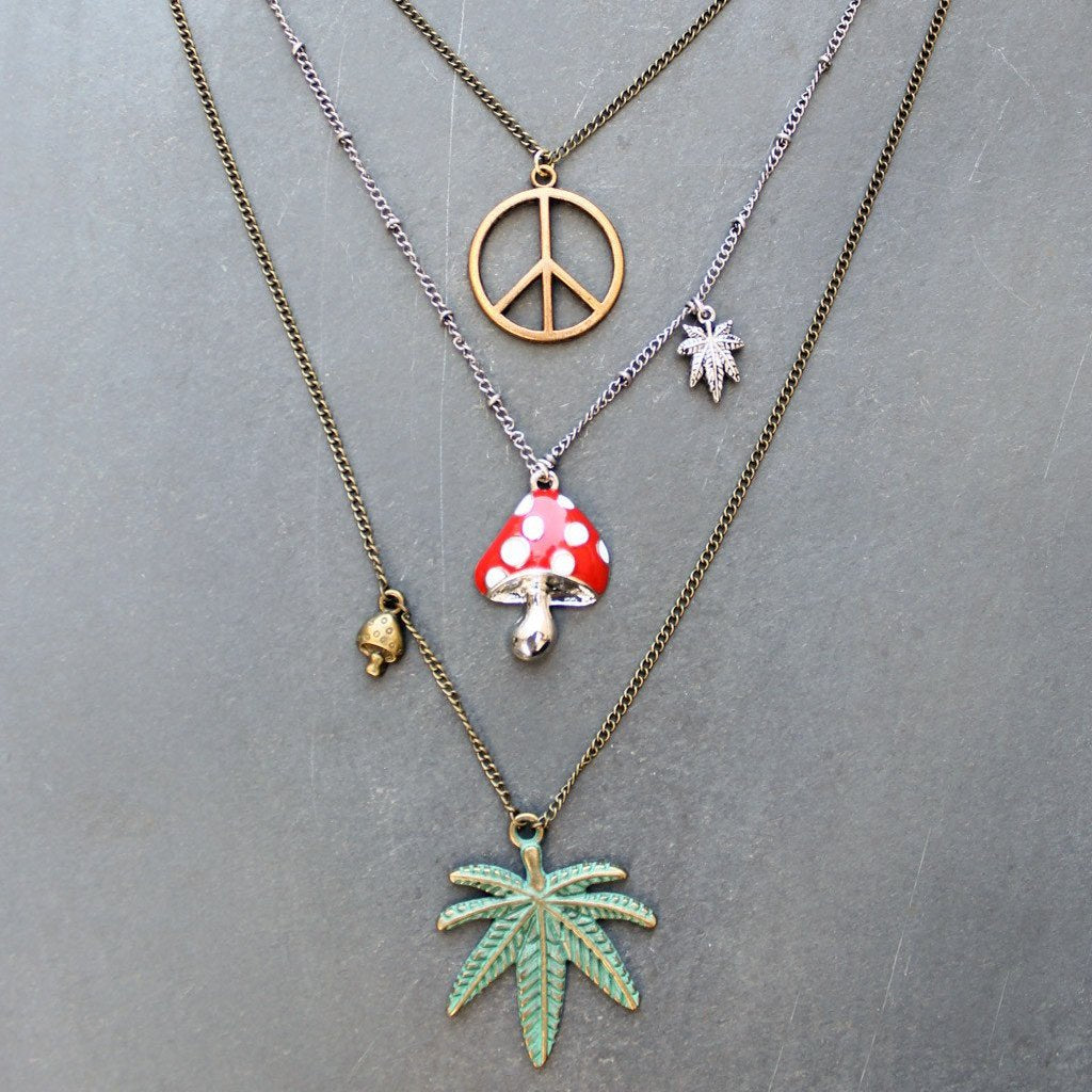 Peace Out Layered Charm Necklace