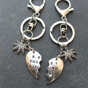 Best Blazed Bitches Keychain (Silver) - Blunted Objects