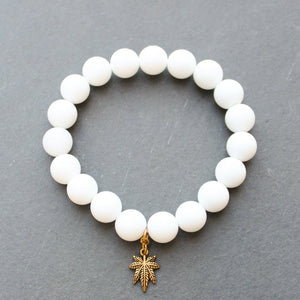 Heavy Hit Beaded Bracelet (Matte White Alabaster) - Blunted Objects