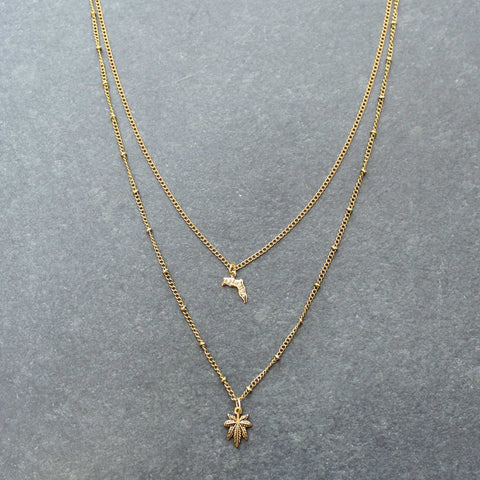 Rep My State Florida Layered Necklace (Gold)