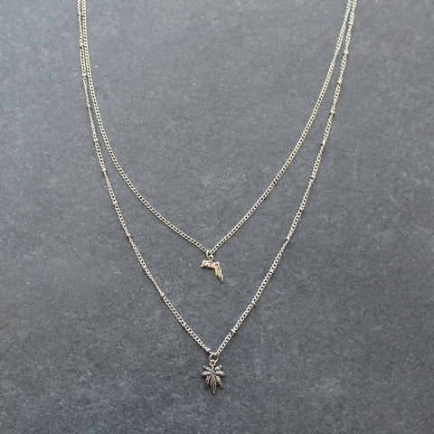 Rep My State Florida Layered Necklace (Silver)