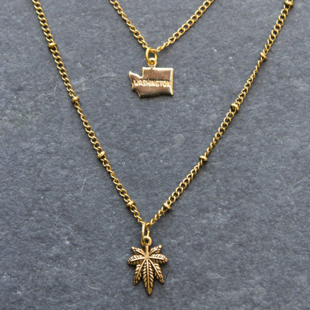 Rep My State Washington Layered Necklace (Gold) - Blunted Objects
