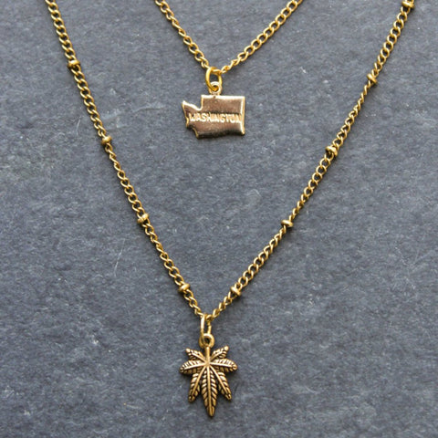 Rep My State Washington Layered Necklace (Gold)