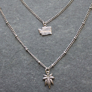Rep My State Washington Layered Necklace (Silver) - Blunted Objects