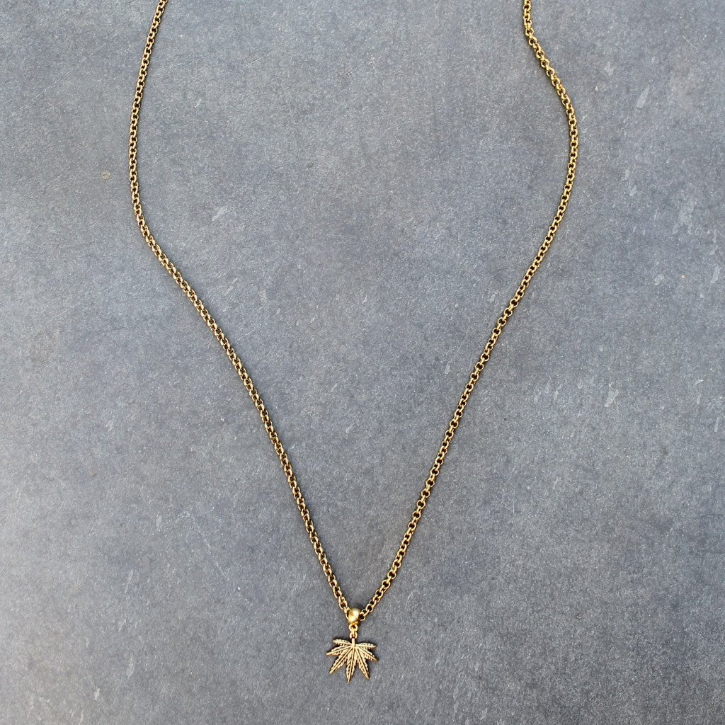 Puff and Pass Leaf Necklace (Gold) - Blunted Objects