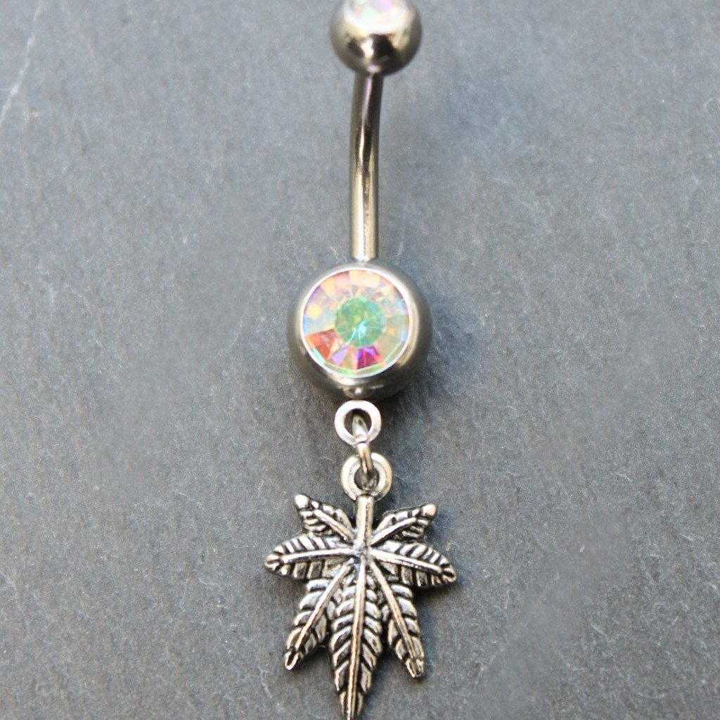 Tiny Bud Leaf Belly Ring (Silver) - Blunted Objects