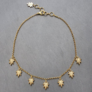 Flicker Weed Leaf Necklace (Gold) - Blunted Objects