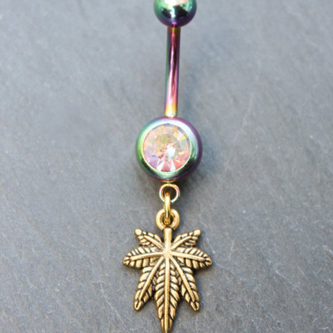 Tiny Bud Leaf Belly Ring (Rainbow)