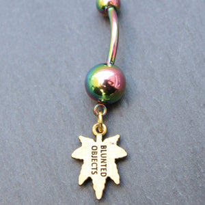 Tiny Bud Leaf Belly Ring (Rainbow) - Blunted Objects