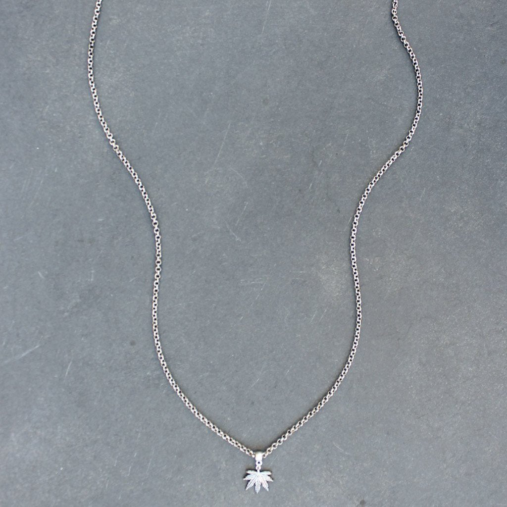 Puff and Pass Leaf Necklace (Silver) - Blunted Objects