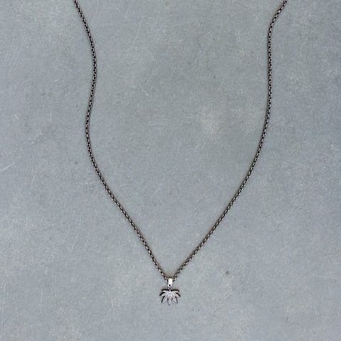 Puff and Pass Leaf Necklace (Gunmetal)