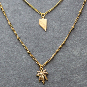 Rep My State Nevada Layered Necklace (Gold) - Blunted Objects