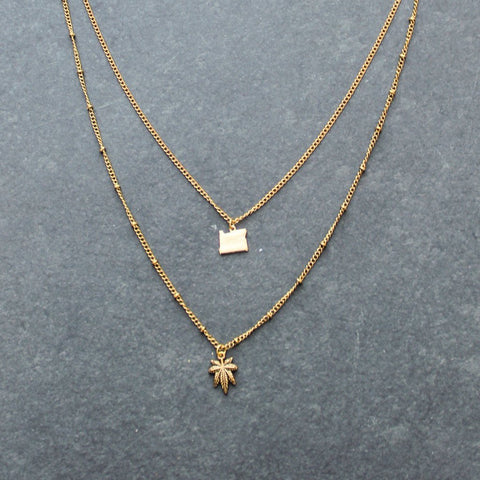 Rep My State Oregon Layered Necklace (Gold)