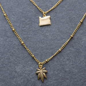 Rep My State Oregon Layered Necklace (Gold) - Blunted Objects