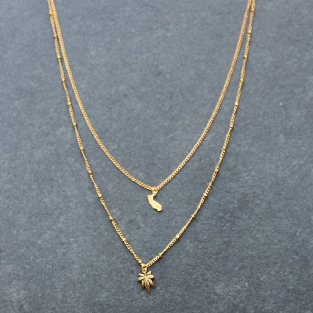 Rep My State California Layered Necklace (Gold)