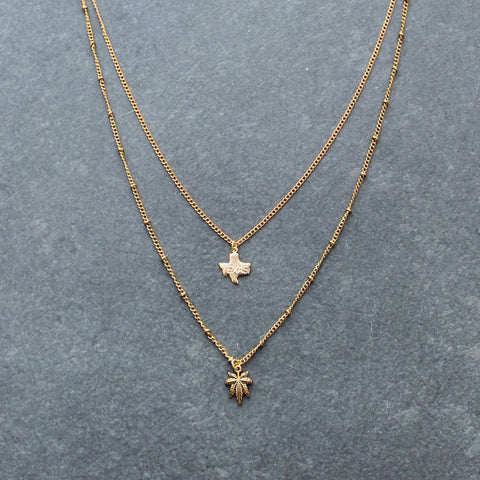 Rep My State Texas Layered Necklace (Gold)