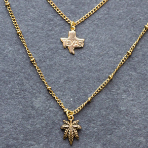 Rep My State Texas Layered Necklace (Gold) - Blunted Objects