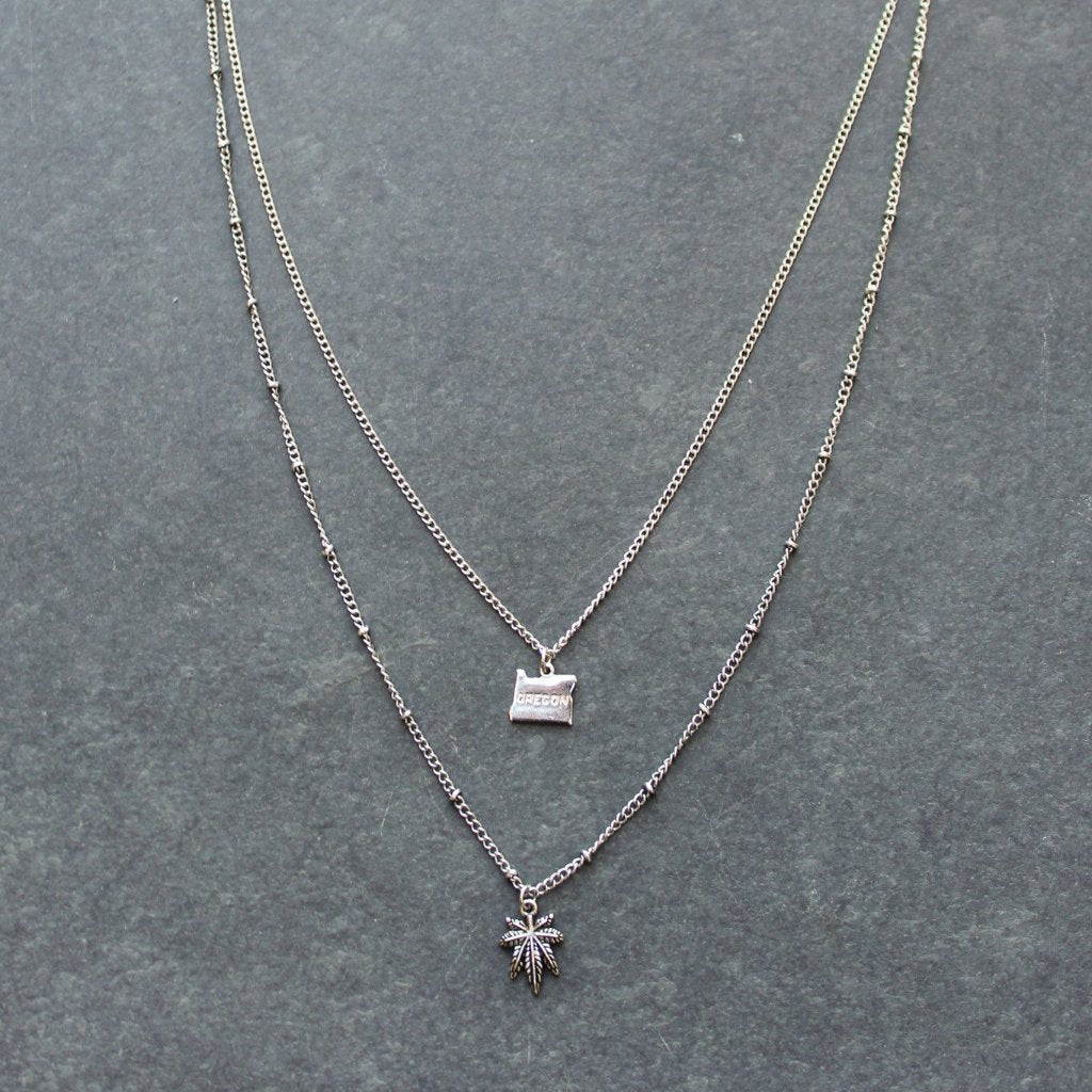 Rep My State Oregon Layered Necklace (Silver) - Blunted Objects