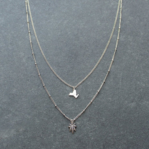 Rep My State New York Layered Necklace (Silver)