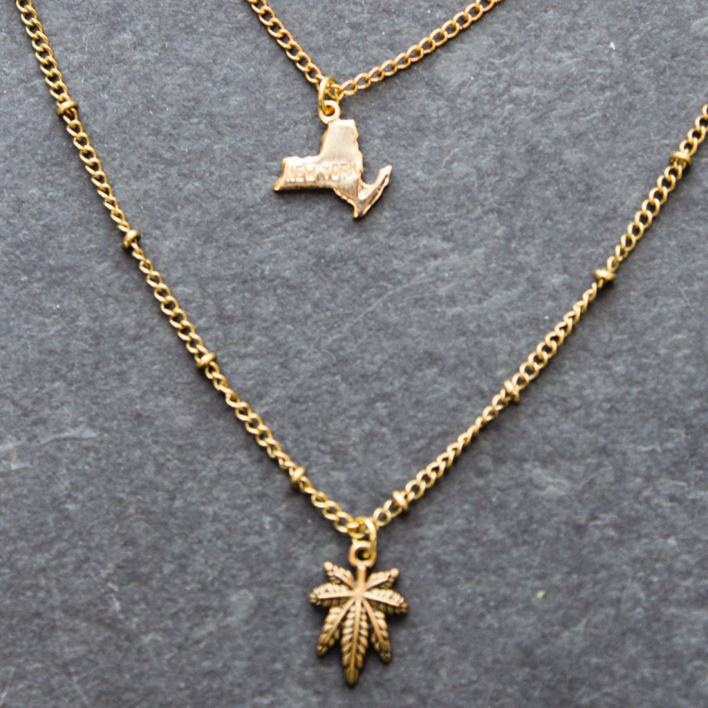 Rep My State New York Layered Necklace (Gold) - Blunted Objects