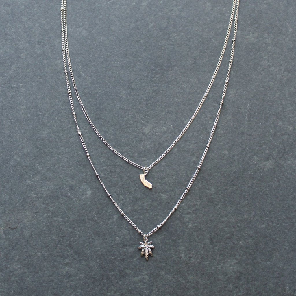 Rep My State California Layered Necklace (Silver) - Blunted Objects