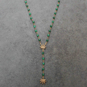 True Religion Weed Leaf Rosary (Green Agate) - Blunted Objects