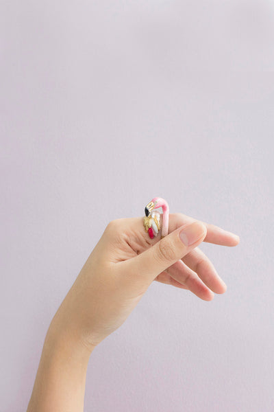 BALLERINE BIRDS flamingo ring