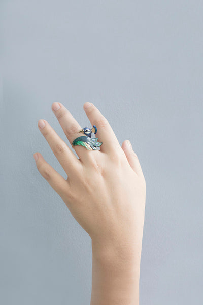 BALLERINE BIRDS peacock ring