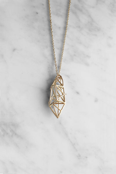 Poly struc locket necklace