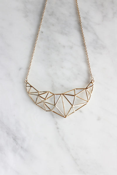 Poly struck statement necklace