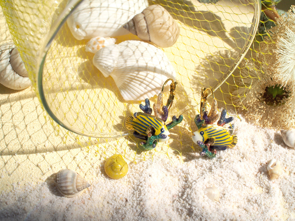 AngelFish and Reef Dormeuse earrings | Ocean Instruments