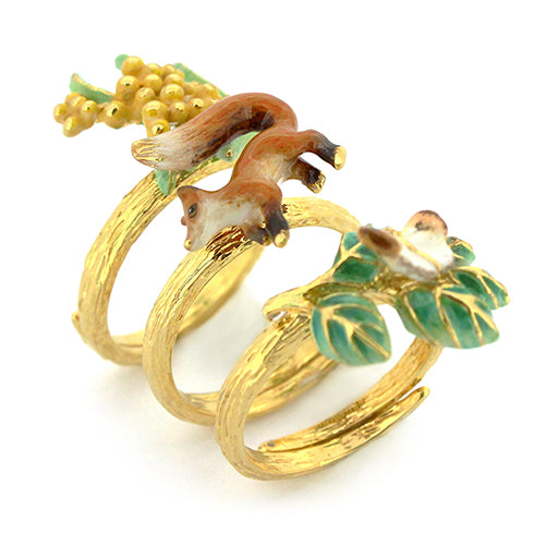 ACHxGFN Stacking Rings - Fox, Yellow wattle, Orange-tip butterflies.